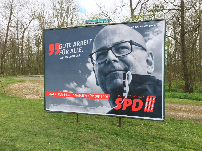 Ministerpräsident Thorsten Albig auf einem Wahlplaket der SPD 2017