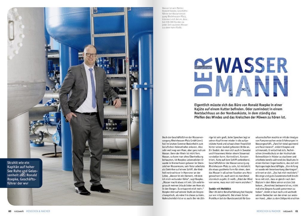 Herr Roepke, Geschäftsführer der Wasserversorgung Rheinhessen-Pfalz GmbH