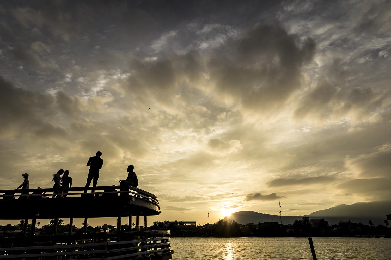 Sonnenuntergang in Kampot, Kambodscha