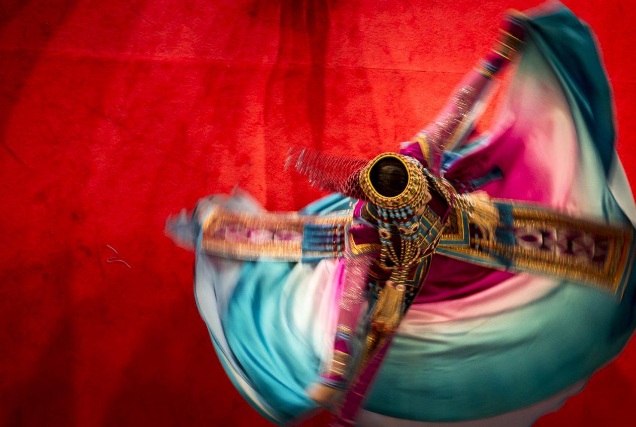 Tänzerin auf dem chinesischen Neujahrsfest in den Potsdamer Platz Arkaden, Berlin