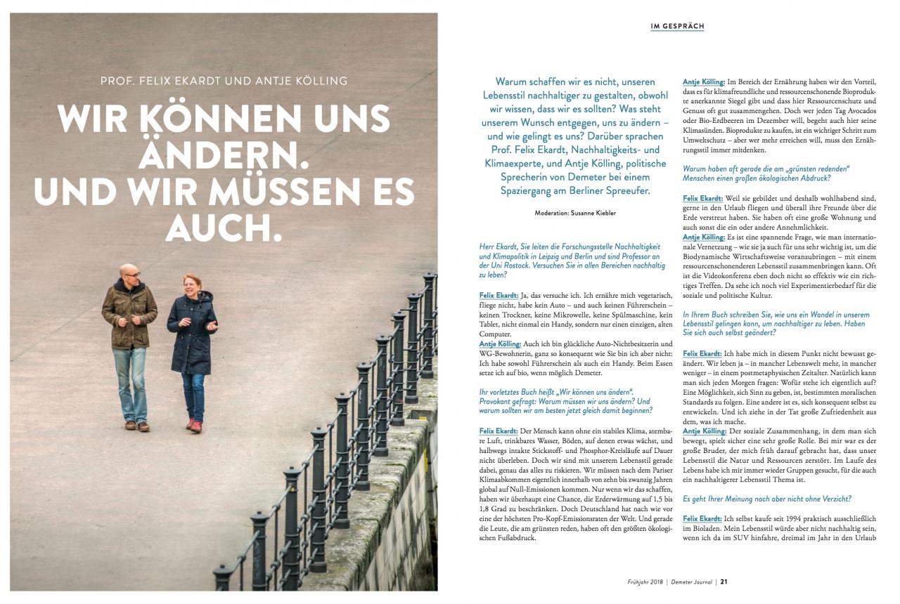 Gespräch zwischen Antje Kölling von Demeter und dem Nachhaltigkeitsforscher Dr. Felix Ekardt